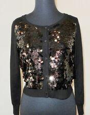 Diane Von Furstenburg DVF Sequin Sweater Cardigan Black NWT P Rt. $350.00!!