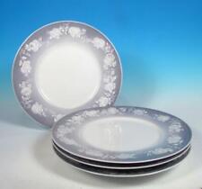 Royal Copenhagen (4) Porcelain Luncheon Plates 2378 Embossed Florals Mid Century