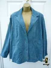 CANDA Ladies Size 24 Blue Embroidered Smart Casual Needle Thin Corduroy Jacket