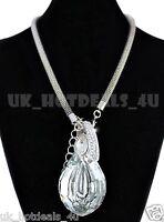 Silver statement necklace designer tassel cubic zirconia chunky snake chain CZ