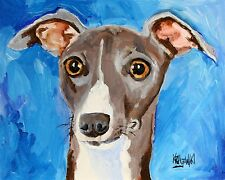 Italian Greyhound Art Print Signed by Artist Ron Krajewski Painting 8x10 Dog