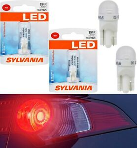 Sylvania LED Light 194 T10 Red Two Bulbs License Plate Replace Lamp OE Show Use