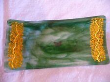 """10""""  Art Glass Abstract Curved Plate Dish Tray~Green & Yellow w Butterfly Inside"""