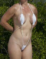 *NEW* WHITE SEXY MINI MICRO THONG SLINGSHOT BEACH BIKINI, ONE SIZE - USA SELLER