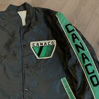 Canaco Jacket Mens XL Adult Black Green Vintage 80s Snap Up Coat USA