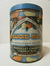 ancienne boite tole publicitaire tranches de fruits st christophe carpentras