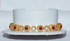 Certified Natural 8.24Cts VS F Diamond Ruby 18K 750 Solid Gold Tennis Bracelet