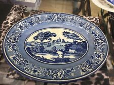 Vintage Daher Decorated Ware Tin Platter (1971 England)  - Blue & White