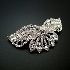 "Large 3.5"" Arched Rhinestone Crystal Tiara Ponytail Holder Barrette Hair Clip"