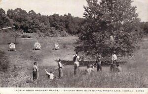 c.'50s, Archery Range, Chicago Boys Club Camp, Winona Lake, Indiana,Old Postcard