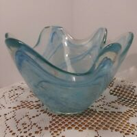 Vintage Hand Blown  Art Glass Candy Bowl / Vase Water Blue Swirl. Beautiful