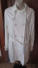 Loomstate !ACT NATURAL! White Double Breast 100% Organic Cotton Jacket Coat Lg
