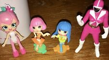 Girl Power! 4 Diff Mini Girl Doll Figures Incl The Pink Power Ranger Stands 4�