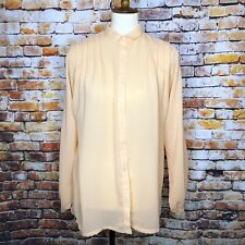 Vintage Givenchy for Chesa Womens Blouse Button Down Pleated Bishop Sleeves Sz 8
