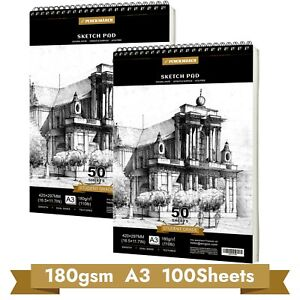 Sketch Book Drawing Pad 180gsm A3*50*2 Sheets Spiral Bound Sketch Paper