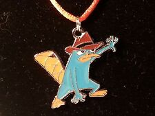 Green & Brown Perry The Platypus Pendant on Orange Satin Cord w/Lobster Clasp