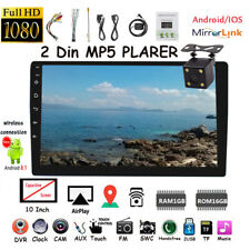 10.1''2 Din Android GPS Car Radio+Camera FM ios Mirror Link Touch Screen BT Wifi