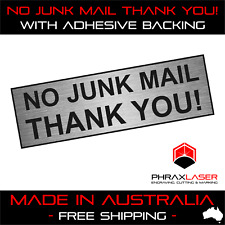 NO JUNK MAIL THANK YOU - SILVER SIGN - LABEL - PLAQUE with Adhesive 80mm x 25mm