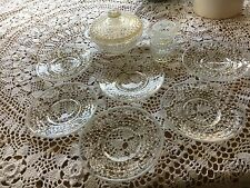 Set of 8 Vintage Hobnail Clear Opalescence Dishes - Absolutely adorable! -