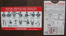 1971 Football Calculator Camel Cigarettes + Old Carstairs Whiskey Football Card