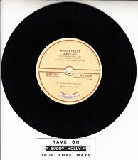 "BUDDY HOLLY  Rave On & True Love Ways 7"" 45 rpm record + juke box strip RARE!"