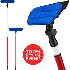 Telescopic Window Cleaner Washing Tool with Microfiber Cloth & Rubber Squeegee