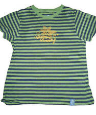 Sea Salt Green and Navy striped organic cotton girls T-shirt 8yrs