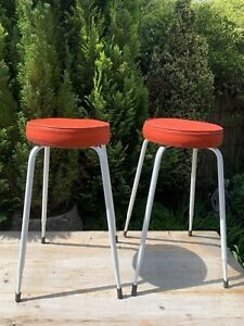 vintage1950's kitchen stools with red seats x2