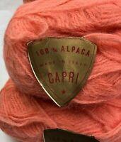 NOS Vintage CAPRI 100% ALPACA 10 Yarn Skeins Ball Lot Orange ITALY DEADSTOCK VTG