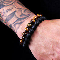 2PCS Men Classic Lava Rock Tiger Eye Gem Stone Beaded Healing Bracelet Boyfriend