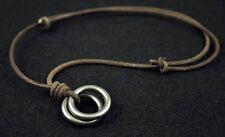 N01 2-Metal-Rings Adjustable Surfer Beach Leather Choker Necklace Vintage BROWN