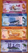 SET, Sri Lanka, 20;50;100;500 Rupees, 2010-2015 P-123;124;125;126 UNC > Colorful