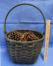 Decorative Basket Green Wood Stain Wicker Rattan Filled Minnesota MN Pine Cones