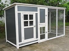 """78"""" Big Wood Frame Plastic Hen Chicken Cage House Coop with Run nesting box"""