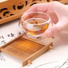 1pcs Solid Wood Tea Tray Drainage Cup Teapot Mat Gongfu Tea Table Serving Plate
