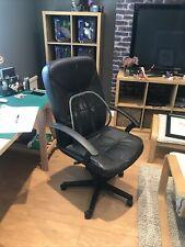 Swivel Desk Chair - Black Leather