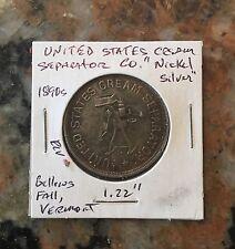 "1890 U.S. Cream Separator Nickel Silver 1.22"" Coin Bellous Falls, Vermont"