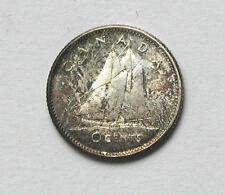1959 CANADA Elizabeth II Silver Coin - 10 Cents - AU++ PQ dark toning