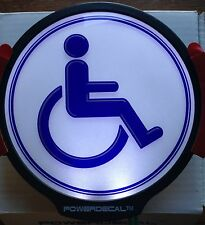 Handicap Light Up Decal LED Motion And Light Sensing Auto Decal White Background