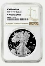 🔥 Pre  2020 W V75 1 American Silver Eagle WW II 2 75th NGC PF70 Brown Label 15