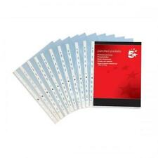 5 Star Punched Pocket Polypropylene Top-opening 50 Micron A4 Clear [Pack 100] 29