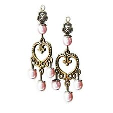 Earrings chandelier bronze heart and pearl, choose color and clip on or pierced