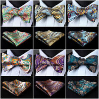 Mens Woven Self Bow Tie Paisley Floral Check Dot Silk Wedding Handkerchief SetI5