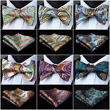 Men Woven Self Bow Tie Paisley Floral Check Dot Silk Wedding Handkerchief Set#I5