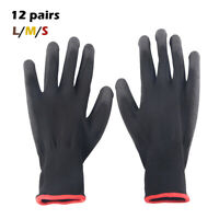 12 Pairs Nylon PU Coated Safety Work Gloves Gardening Builders Mechanic Grip IE