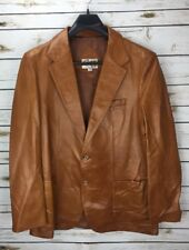 Vtg Remy Leather Fashions Brown Soft Leather Long Cut USA Jacket Sz 46 Long