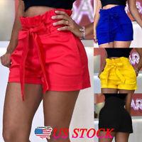 Summer Hot Women's Ladies Pocket High Waist Casual Shorts Bowknot Party Pants