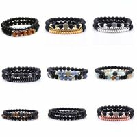 2Pcs Women/Men Lava Rock Chakra Beads Elastic Natural Stone Bracelet Jewellery