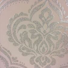 Damask Wallpaper Glitz Glitter Textured Sparkle Black Pink Teal Fine Décor