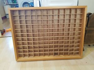 Vintage Industrial Wooden Pigeon Hole Unit 132 Sections Solid Wood Shelves Stora